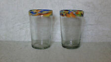 Mexican Hand Blown Colorful Confetti Rimmed Glasses-Set of 2