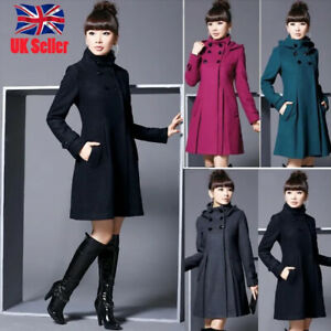Women Ladies Winter Hooded Coat Thick Woolen Parka Overcoat Long Jacket Outwear