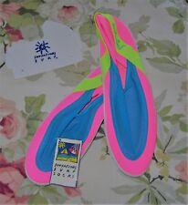 SUNSATIONS SURF Socks Bright Tr-Color Water Beach Moc SHOES, Women's Sz 9