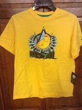 Nike Brazil Brasil CBF Football Canarinho Yellow Tee T Shirt Boys L NWT New
