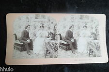 STA918 Scene de genre Couple papier peint deco Photo 1900 STEREO stereoview
