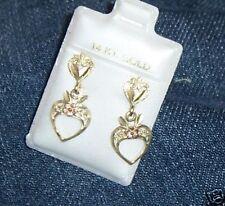 Hawaiian Heart Flower Hawaii Earring 14K Yellow Gold