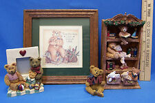 Russ Berrie Resin Bookshelf Love Bear Picture Frame & Bear Print Lot of 4