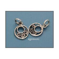6 Silver Antique Look Coin Bracelet Necklace Charm #51431