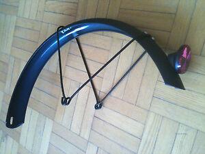 "MATTE BLACK 16"" BACK WHEEL STEEL FENDER 1.75""W +RED LIGHT REFLECTOR BIKE BICYCLE"