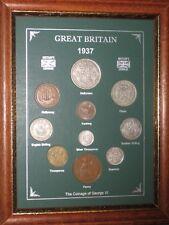 FRAMED 1937 GB GREAT BRITISH COIN YEAR SET (VINTAGE 82nd BIRTHDAY PRESENT GIFT)