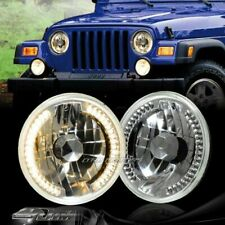 """7"""" Round H6014/H6017/H6024 Yellow LED Ring Chrome Crystal Glass Lens Headlights"""