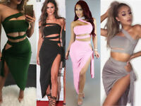 Women 2 Piece Set Party Dress Bandeau Cut Out Multi Tie Bodycon Bardot Top Skirt