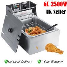 6L Electric Deep Fat Chip Fryer Non Stick Pan & Safe Basket Handle Brushed Steel