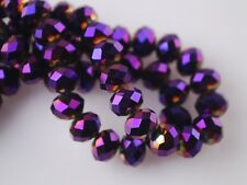 200pcs 2x3mm Faceted Rondelle Crystal Glass Loose Spacer Beads Purple Plated
