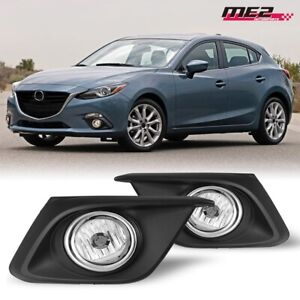 For Mazda 3 14-16 Factory Bumper OE Style Fog Lights + Wiring Kit Clear Lens