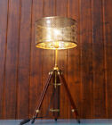 Vintage Nautical Teak Tripod Table Lamp, Industrial antique restoration Lamp