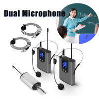 Wireless Audio System Dual Head Mounted Mics Lavalier Mics Transmitter For Guide