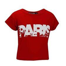 T-shirt rouge col rond pour fille de 2 à 16 ans
