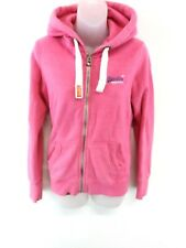 SUPERDRY Womens Hoodie Jacket S Small Pink Cotton & Polyester