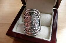 LARGE OVAL BASKETWEAVE BALI DESIGN 925 STERLING SILVER CONCAVE RING SZ Q 8.5