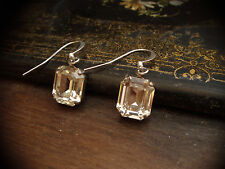 Vintage Emerald Cut Clear Rectangle Crystal Drop Pierced Earrings