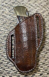 Handcrafted Handcarved Leather Pancake Knife Sheath (For Buck 110 Hunting Knife)