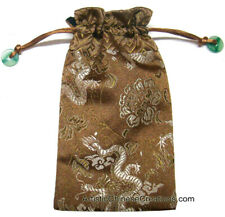 Chinese Silk Draw String Pouch - Dragons - Silk Embroidered Pouch