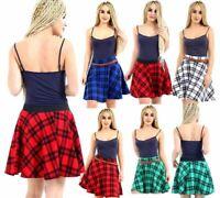 Ladies Tartan Check Belted Skirt Womens Tartan Elasticated Waist Skater Skirt