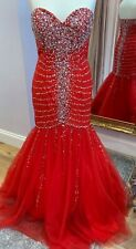 JOVANI SHERRI HILL STYLE RED TULLE BEADED PROM PAGEANT EVENING GOWN BNWT