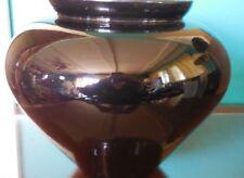 New listing 1986 Haeger Usa Pottery High Shine Black Vase Planter