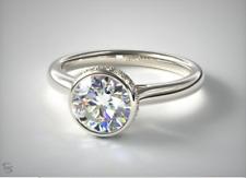 Moissanite Engagement Ring 14K White Gold Certified 1.65ct Near White Bezel Set