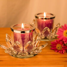 "2.8""Crystal Lotus Flower Tealight Candle Holder Glass Clear Candlestick,Set of 2"