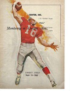 1962 9/15 high school football program Cooper Texas v Monterey Plainsmen POOR