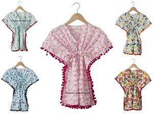 Enfants Fille Coton Robe Caftan Indien Imprimé Chemise de Nuit Manche Courte