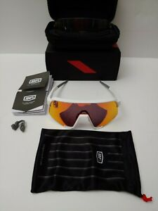 100% Percent S3 Cycling Sunglasses Soft Tact White HiPER Red Mirror Lens