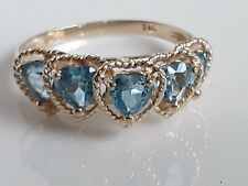 Delicate Yellow Gold Ring ~  With Love Hearts &  Light Blue Topaz