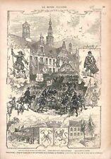 Académie Université Leyde Universiteit Leiden Parade Hôtel de Ville GRAVURE 1875
