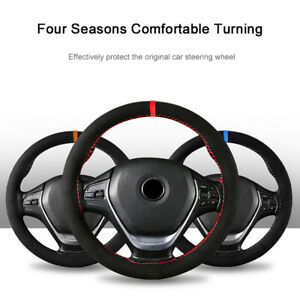 Universal Auto Steering Wheel Cover Sweat 38cm Absorbent Suede Hand Sewing Braid