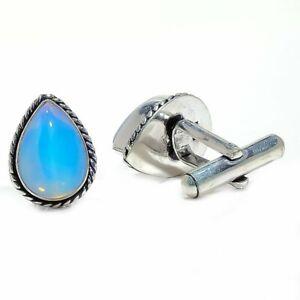 Milky Opal Gemstone 925 Sterling Silver Cufflink Men's Jewelry M2226