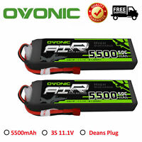 2X OVONIC 11.1V 5500mAh 50C 3S Lipo Battery Deans Plug For RC Airplane Heli Car