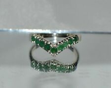 GLAMOROUS 1.00 ct.  NATURAL GENUINE AFRICAN  EMERALD .925 STERLING  SILVER RING