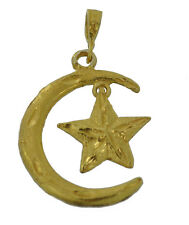 Moon and dangle Star 24K Gold Plated  Islam Muslim Sterling Silver .925 Jewelry