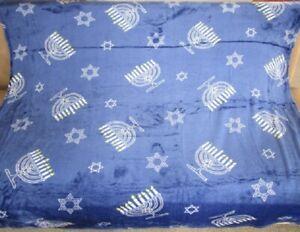 New Blue Menorah Hanukkah Plush Fleece Throw GIFT Blanket Star of David Jewish