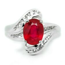 9x7mm Natural Top Red Ruby Ring With White Topaz in 925 Sterling Silver