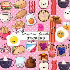 Kawaii Food Emoticons labels Stickers,Milk and Cookies BFF Kitsch Retro Stickers