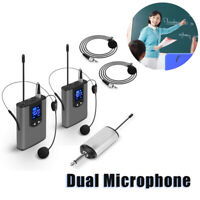 Audio System Wireless Dual Head Mounted Mics Lavalier Mics Transmitter For Guide