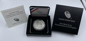 2016 Mark Twain Commemorative Uncirculated Silver Dollar w Box & COA