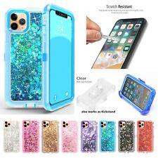 For Apple iPhone 11/11 Pro Max Liquid Glitter Defender Case w/Clip Fits Otterbox