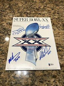 Chicago Bears Signed Super Bowl XX Program BAS LOA Dent Ditka Hampton Singletary