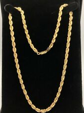 """10k Yellow Gold Solid Twisted Diamond Cut Rope Chain Necklace 19"""" 5mm 31.1 grams"""