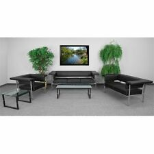 Flash Furniture Fusion 3 Piece Leather Reception Sofa Set in Black