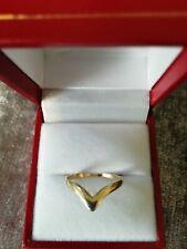 9ct GOLD LADIES WISHBONE RING (FULLY HALLMARKED) SIZE UK (N)