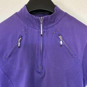 Jamie Sadock Women's Purple 1/4 Zip Short Sleeve w/Front Zip Pockets Top Sz S