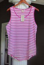 MICHAEL KORS Plum Blossom White Stripe Logo Embellished Tank Top Sz L NWT $59.50